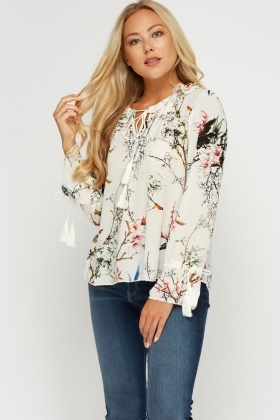 Frilled Neck Printed Top