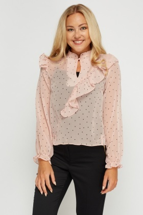 Frilled Polka Dot Sheer Blouse