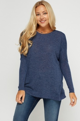 Middle Blue Speckled Knitted Top