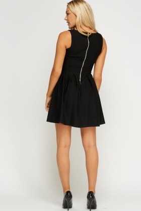 Pleated Hem Black Dress