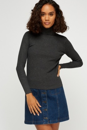 Turtle Neck Ribbed Jumper