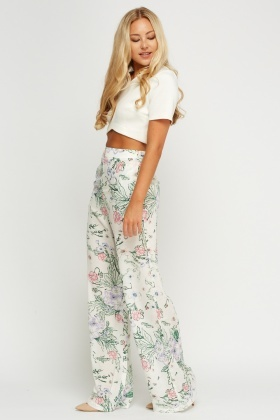 Wide Leg Floral Sateen Trousers