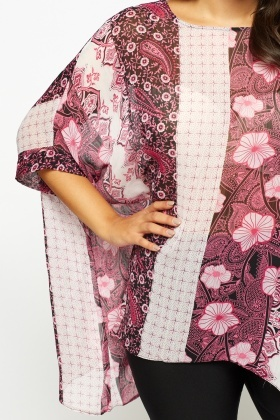 Asymmetric Mixed Print Cover Up