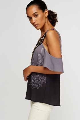 Beaded Lace Insert Cold Shoulder Top