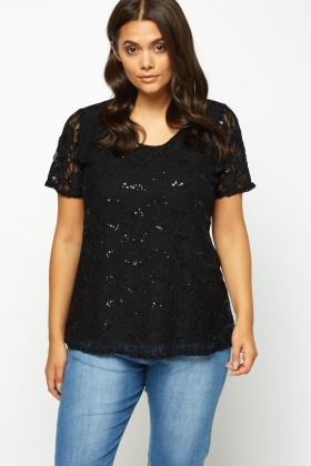 Black Sequin Lace Overlay Top