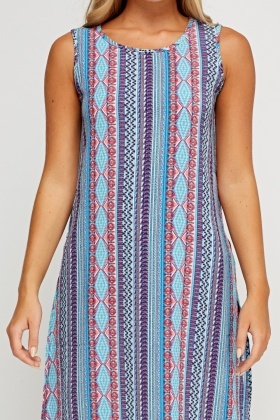 Blue Mixed Print Midi Dress