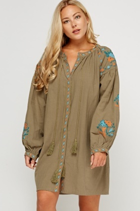 Embroidered Button Up Dress