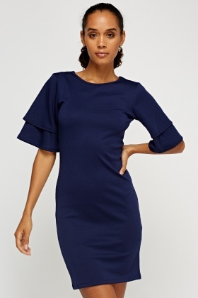 Flare Overlay Sleeve Bodycon Dress