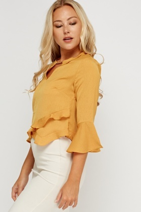 Frilled Mustard Detailed Neck Top