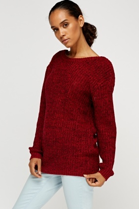 Low Back Red Knitted Jumper