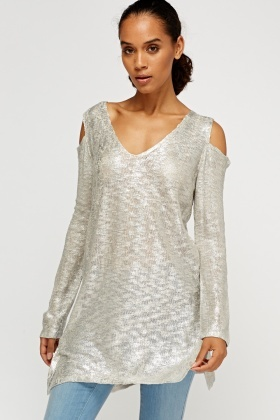 Metallic Insert Cut Out Shoulder Top