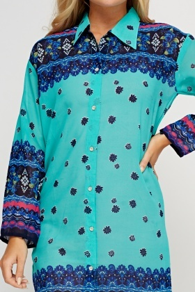 Mixed Print Tunic Dress