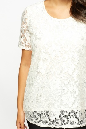Off White Metallic Contrast Lace Overlay Top