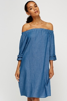 Ruffled Off Shoulder Blue Dress