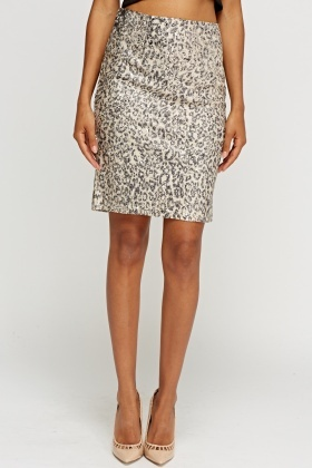 Sequin Beige Skirt