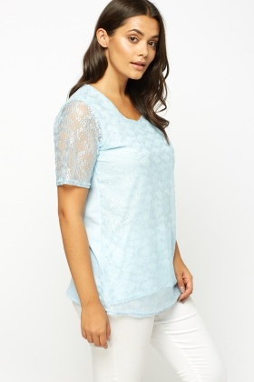 Sky Blue Lace Overlay Top
