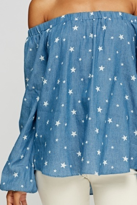 Star Printed Off Shoulder Top