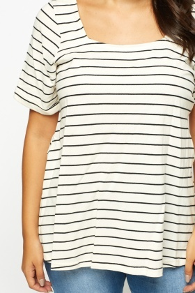 Striped Square Neck Top