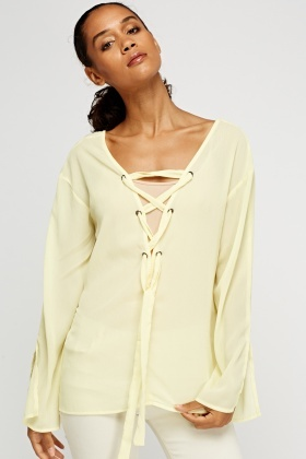 Tie Up Front Sheer Top