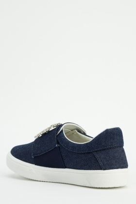 Diamante Front Denim Plimsolls Shoes
