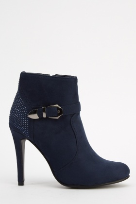 Encrusted Detail Heeled Boots