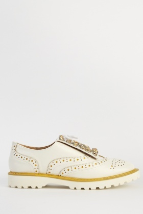 Encrusted Detail Lace Up Brogue Shoes