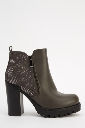 Encrusted Heeled Ankle Boots