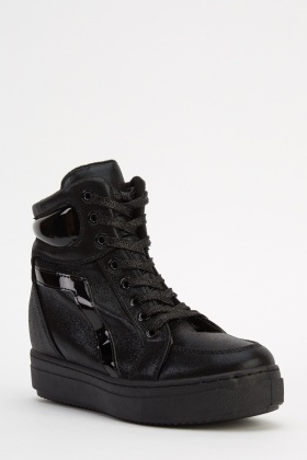 Lace Up Wedged Trainers