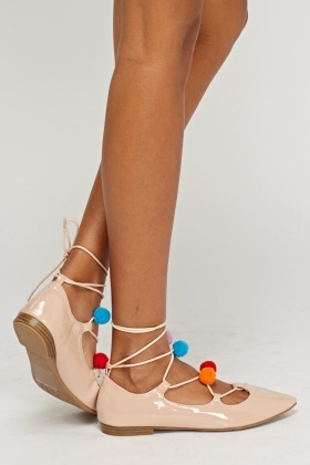 Pom Pom Lace up Ballerinas