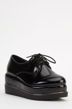 PVC Platformed Lace Up Shoes