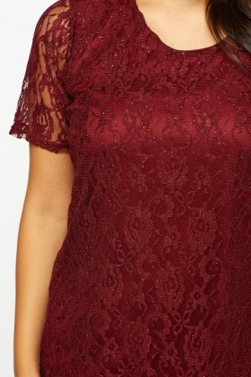 Burgundy Glitter Contrast Lace Overlay Top