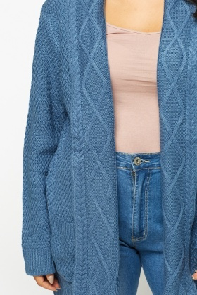 Denim Blue Cable Knit Cardigan