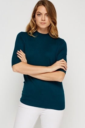High Neck Short Sleeve Knit Top
