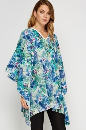 Printed Batwing Cover Up