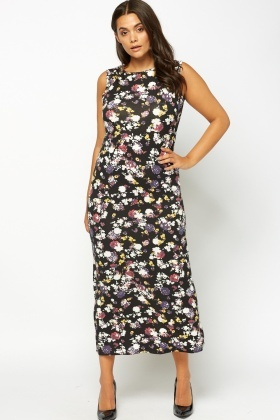 Printed Bodycon Maxi Dress
