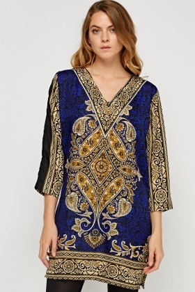 Silky Printed Glittered Tunic Top
