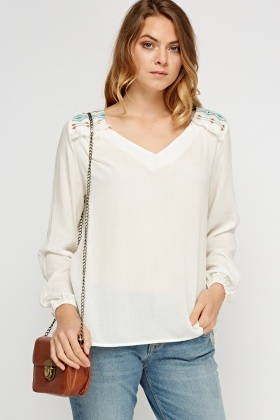 Stitched Frayed Top