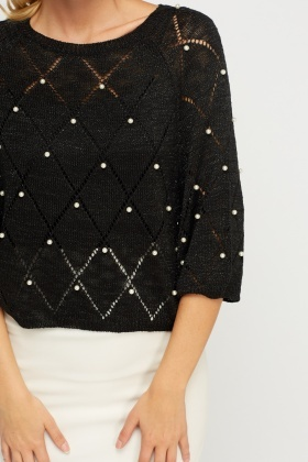 Beaded Metallic Insert Knitted Crop Jumper