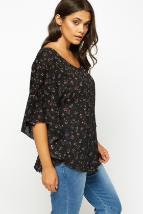 Black Printed Batwing Top