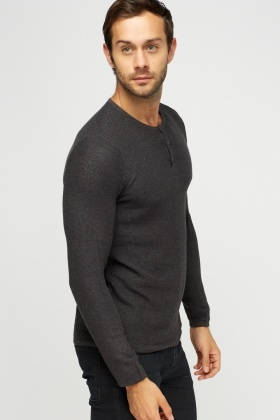 Button Neck Knitted Sweater