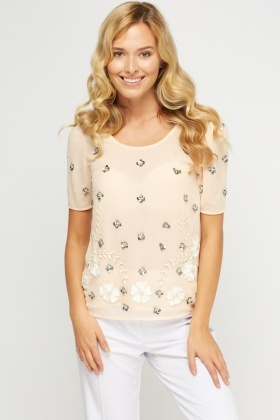 Embellished Sheer Round Neck Top