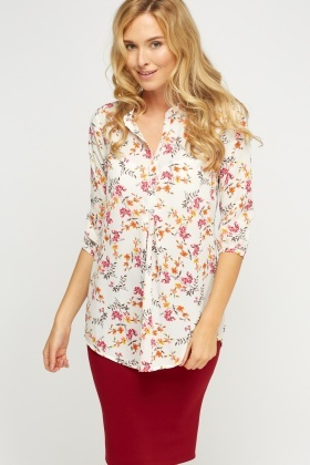 Floral Button Neck Top