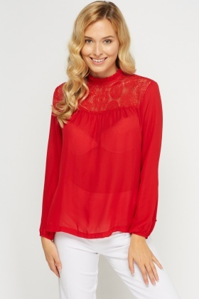Red Crochet Neck Insert Blouse