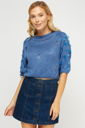 Sequin Distressed Knitted Jumper