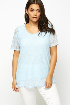 Sky Blue Overlay Lace Top