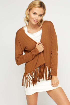 Tasseled Open Front Cardigan