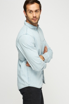 Washed Blue Denim Shirt