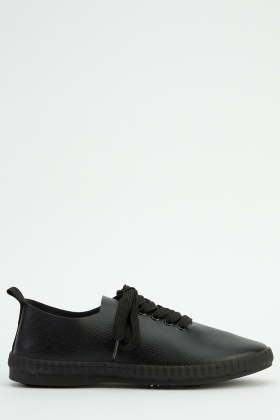 Faux Leather Lace Up Shoes