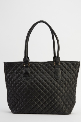Faux Leather Quilted Tote Bag