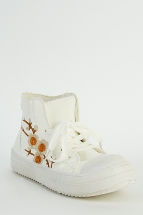 Floral Embroidered White Trainers